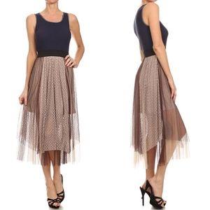 Mystree Colorblock Tulle Lace Midi Tank Dress
